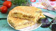 Фото рецепта Пирог из слоёного теста с картофелем и сайрой