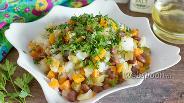 Фото рецепта Картофельный салат с фасолью и маринованными огурцами