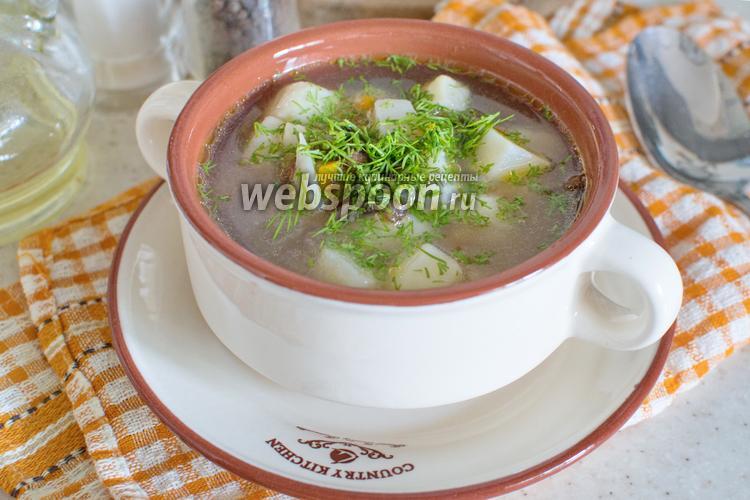 Фото Суп с сушёными лисичками в мультиварке