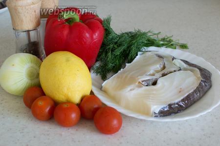 Для приготовления потребуется зубатка, лимон, лук репчатый, перец болгарский, укроп, соль, перец, вино белое.