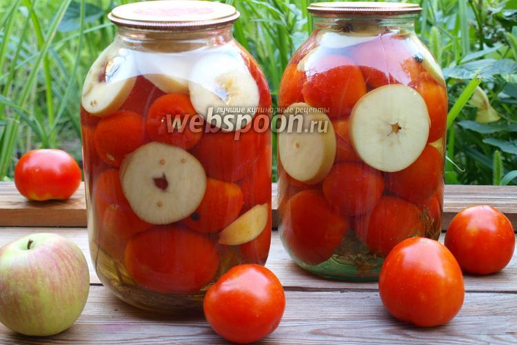 Фото Помидоры консервированные с яблоками