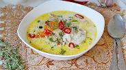 Фото рецепта Сливочный суп с курицей и овощами