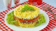 Фото рецепта Салат с куриной печенью, картофелем и огурцами