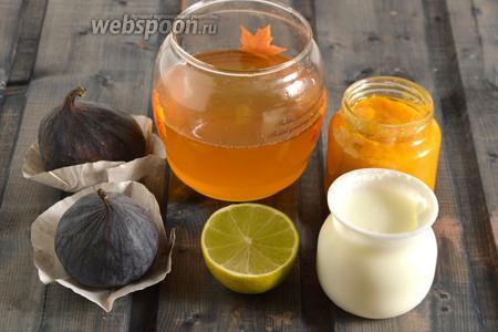 Подготовьте необходимые ингредиенты: свежий инжир, мёд, лаймовый сок, пюре манго (я использовала баночку готового детского пюре) и йогурт. Йогурт и манговое пюре должны быть хорошо охлаждёнными.