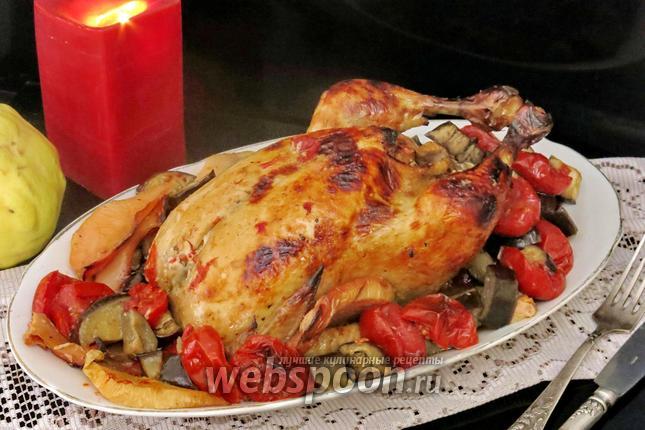 Фото Курица с баклажанами и помидорами в духовке