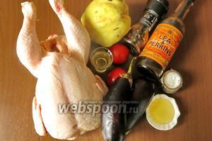 Ингредиенты: курица, помидоры небольшие, баклажаны средние, айва, масло растительное, мёд, вустерский соус, соль, перец молотый.