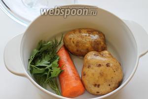 Овощи отварить с добавлением зелени и кореньев (по желанию).