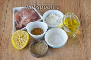 Для приготовления необходима икра камбалы, мука, специи для рыбы, сок лимона, перец чёрный молотый,  масло подсолнечное.