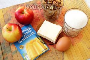 Для приготовления нам понадобятся грецкие орехи, сахар, сливочное масло, яйца куриные, молоко, разрыхлитель, мука пшеничная, вода, яблоки и пудинг порошок (в пачке 37 г).