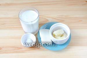 Для приготовления соуса Альфреда возьмём сыр Пармезан, сливки, сливочное масло, а также соль и перец.