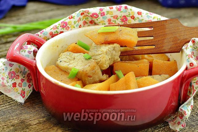 Фото Тыква с мясом в духовке