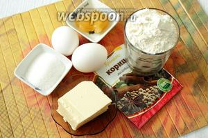 Для приготовления нам понадобятся сахар, мёд, сливочное масло, яйца куриные, корица, сода и пшеничная мука.
