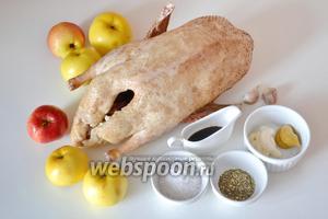 Для приготовления утки нам понадобится сама утка, яблоки, морская соль, прованские травы, чеснок, горчица, сметана и соевый соус.
