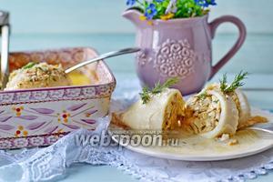 Фаршированные кальмары с грибами и сыром