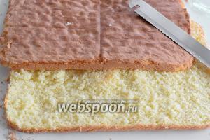 Разрезаем бисквит на 2 части. Рекомендую резать большим хлебным ножом с резцами или специальным ножом для бисквитов.
