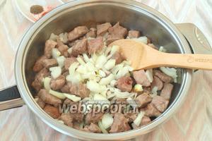 В сковороде разогреть подсолнечное масло, выложить в него кусочки свинины и следом нарезанный четвертькольцами лук. Обжарить, чтобы мясо немного подрумянилось. Приблизительно это займёт 10 минут. Мясо с луком необходимо перемешивать.