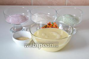 Подготавливаем необходимые ингредиенты: сгущённое молоко, разноцветное желе и желатин.
