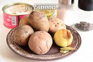Для приготовления нам нужен картофель (8-10 штук среднего размера), репчатый лук, соль, специи и свиная тушёнка.