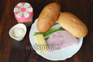 Для приготовления хот-догов с ветчиной вам понадобится майонез, ветчина, сыр, зелёный лук, имбирь молотый и булочки для хот-догов.