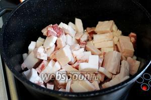 Выкладываем подготовленное сало в кастрюлю, лучше широкую толстостенную, иногда добавляют луковицу (если планируете хранить сало, то лучше не добавлять).