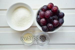 Готовим конфи. Ингредиенты: виноград тёмный, сахар, лаванда, желатин.