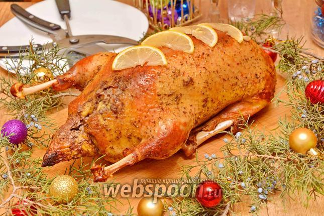 Фото Запечённая утка с гречкой и яблоками