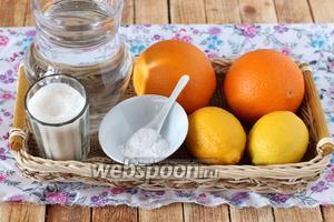 Для домашней цитрусовой газировки возьмём 2 крупных апельсина, 2 лимона, сахар, чистую питьевую воду и соду.