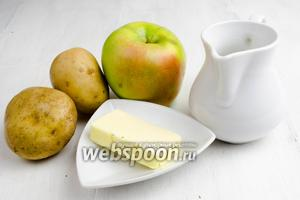 Чтобы приготовить картофельное пюре, нужно взять картофель, небольшую луковицу, яблоки, сок лимона, масло сливочное, соль, воду.