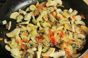 Сперва обжарим грибы, лук и морковь.