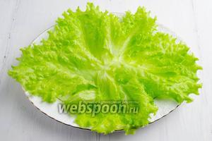 Листья салата вымыть под холодной водой. Обсушить. Срезать черенки. Разложить листья по блюду для салата.