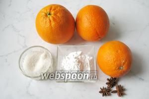 Для того, чтобы приготовить кисель из апельсинов потребуются апельсины, сахар, крахмал картофельный и бадьян звёздочкой.