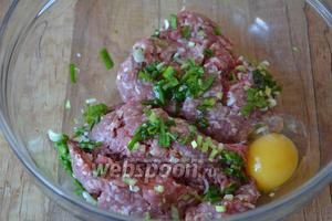 Свиной фарш выложить в глубокую миску, зелёный лук измельчить, добавить лук и куриное яйцо в фарш.