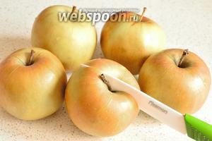 4-5 яблок вымыть, обсушить. Сделать на них крестообразные надрезы и запекать в духовке при 200°С около 1 часа. Смотрите по готовности. Через надрезы будет вытекать лишний сок, и будущее пюре получится густое.