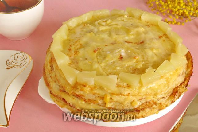 Фото Блинный торт ананасовый