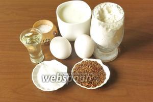 Ингредиенты: лён, мука, яйца, соль, сахар, кефир и кипяток.