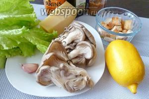 Для салата нам понадобятся грибы вёшенки, зелёный салат, Пармезан, сухарики из батона, сок 1/2 лимона, оливковое масло, дижонская горчица и вустерский соус.