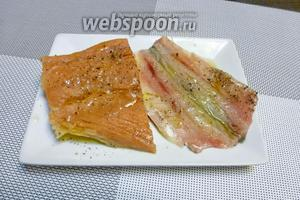 Пелядь (100 г) разделаем на филе, кожу не нужно снимать, рыба очень нежная и просто развалится на сковороде. Рыбу посолим и поперчим, сбрызнем оливковым маслом (1 ч. л.) и оставим на 10 минут.