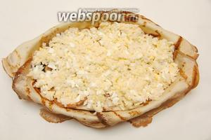 И третий слой: рис с яйцом.