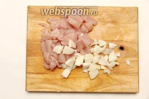 Филе курицы промыть, обсушить, порезать мелкими кусочками. Лук режем полукольцами.