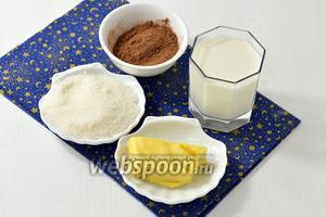 Для глазури нам понадобится молоко (100 мл), какао (4 ст. л.), сахар (4 ст. л.), сливочное масло (50 г).