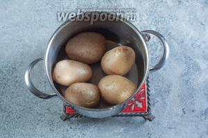 Варим картошку в воде без соли до готовности (остриё ножа мягко входит в картошину). В зависимости от размера картошин, это занимает 15-30 минут с момента закипания.