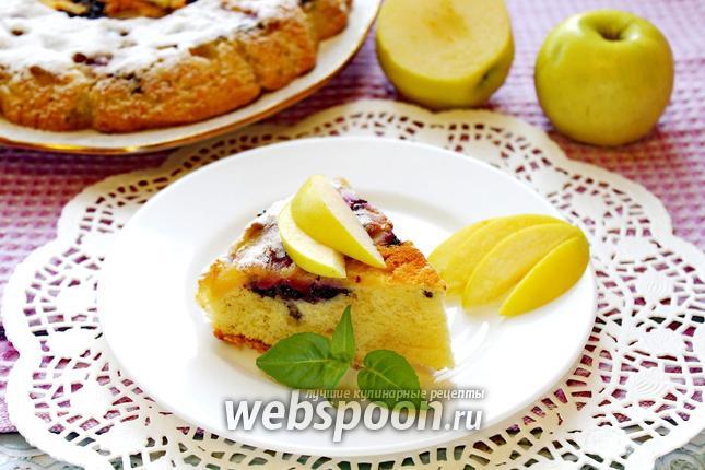 Фото Шарлотка с черникой и яблоком