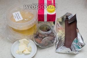 Для приготовления возьмём сироп глюкозы, шоколад, масло сливочное, сливки жирные, какао-бобы, соль.