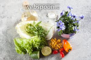 Состав ингредиентов — абсолютно произвольный набор зелёных салатов и овощей, помытых и обсушенных. По вкусу фиалки близки, собственно, просто еще к одному виду салата. А вот заправку нужно делать с очень спокойным, не острым, а как можно более нейтральным вкусом — иначе просто не распробуешь цветы. Исходя из этого, с оливковым маслом лучше не связывайтесь, если у вас нет сорта с кислотностью ниже 0.3%. Если брать уксус, то лучше яблочный — в любом случае, не концентрированный. А в идеале — сок цитрусовых.