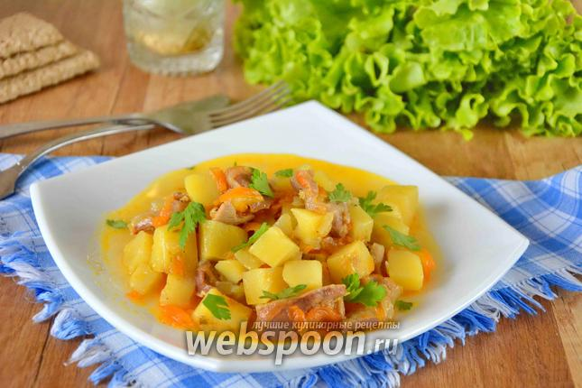 Фото Куриные желудочки с картошкой