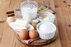 Подготовим 2 вида муки, сахар, масло, специи, соду, яйца, воду.