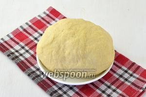 Тесто должно получиться нежным, поэтому количество муки регулируйте самостоятельно. Оставить тесто под полотенцем на 30 минут.