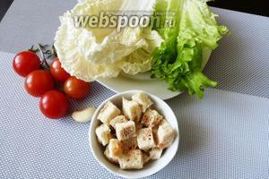Для салата возьмем 3-4 листа пекинской капусты, 2 листа зеленого салата, помидоры черри, белые сухарики и зубчик чеснока.