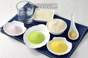 """Для приготовления желейного торта """"Битое стекло"""" нам понадобится сметана 20%, сахар, быстрорастворимый желатин, сухое желе в порошке — красное, зелёное и жёлтое, вода."""