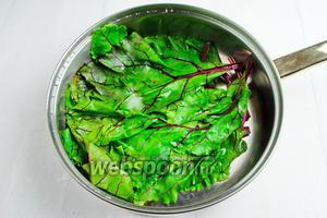Ботву (листья, 11 штук) вымыть. Обдать кипятком (320 мл). Через 30 секунд воду слить.